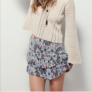 FREE PEOPLE ONE Pepita Tiered Smocked Short Skirt